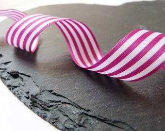 Fuchsia Pink And White Stripe Ribbon 16mm Wide Berisfords Per Metre