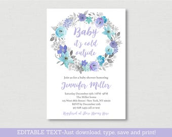 Winter Floral Baby Shower Invitation / Floral Baby Shower / Purple Floral / Editable PDF INSTANT DOWNLOAD A400