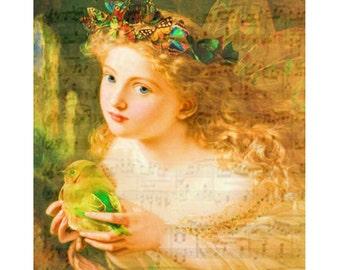 Young vintage cherub angel, digital print, childrens print, photomontage, digital art, fine art print, nursery print, home decor, art print