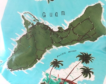 Guam Scarf Souvenir Scarf 1960s Scarf Tourist Scarf Island Collectible travel scarf