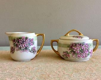 Antique Creamer and sugar bowl set purple flowers creamer set MZ Austria fine china 1330 3N