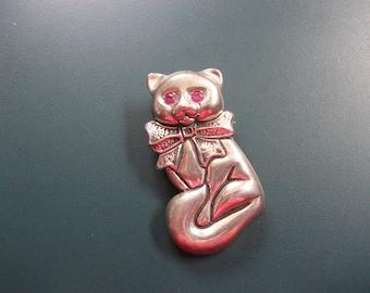 Vintage Sterling Silver Kitty Cat Ruby Glass Rhinestone Eyes Pendant & Brooch Pin