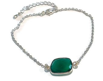 Silver and Green Onyx Bracelet