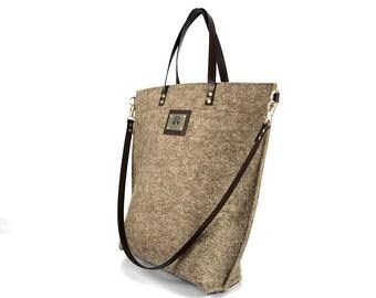 Womens Leather Handbag, Felt Tote Bag with Strap, Handmade Shoulder Bag, Large Purse, Everyday Crossbody Bag, Satchel, Messenger Bag, Gift