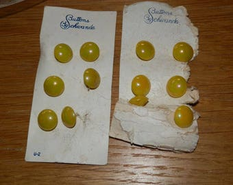Vintage Schwanda Glass Buttons- Small Yellow