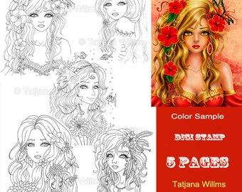 Set - Fantasy Coloring Sheet Digi Stamp Adult Coloring Girls - Flowers Mermaid - Line Art for Cards & Crafts. Instant Download!