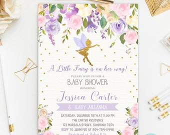 Fairy Baby Shower Invitation, Enchanted Baby Shower, Fairy Princess Invitation, Floral Baby Shower Invitation Printable, Digital File