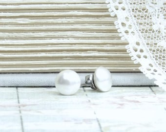 White Pearl Studs Pearl Stud Earrings White Pearl Earrings Surgical Steel Studs White Pearl Jewelry