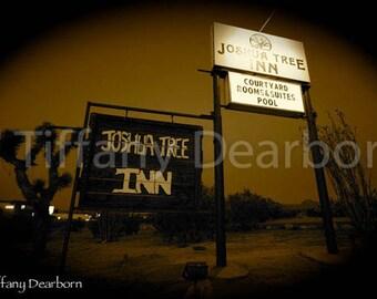 Joshua Tree Inn sign with joshua tree, California desert motel - sepia 8x10 color print