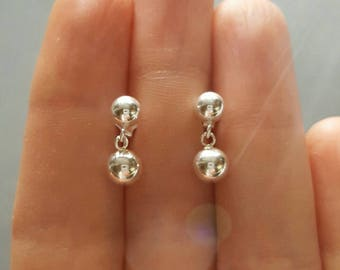 Sterling silver post earrings, silver stud earrings, medium and large ball