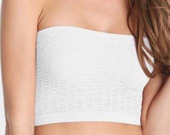 Textured strapless bandeau tubetop