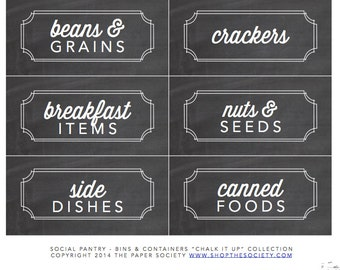 """Chalkboard """"Bins and Containers"""" Pantry Labels Collection - Printable PDF - Chalk it Up"""