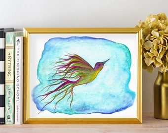 Watercolor Hummingbird Painting -  Aqua Nursery Wall Art -  Watercolour Hummingbird Print - Bird Nursery Poster - Blue Bird Art Print 8 x 10