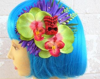 Kanani Tiki Hair Clip, Pinup Tiki Hair Flower, Beach Hair Clip, Tropical Hair Clip