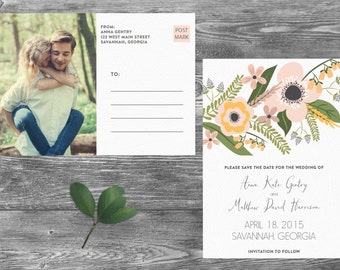 Save The Date Postcard, Postcard Save the Date, Photograph Save the Date, Custom Personalized, Engagement Announcement Card - Savannah