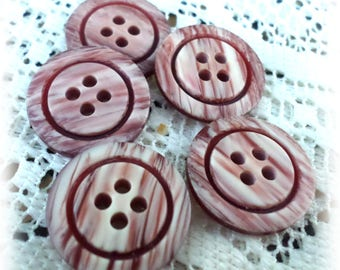 5 Burgandy/Brown Vintage 4-Hole Buttons
