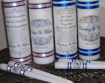 Damask Monogram Unity Memorial Candle Set, Wedding Candle, Memory Candle,