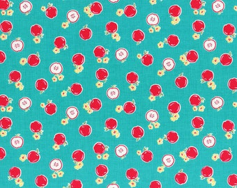 Flower Sugar Spring 2014 Apples on Teal Cotton Fabric  by Lecien 30970-60