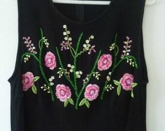 Dress crepe Georgette Vintage Pink Black