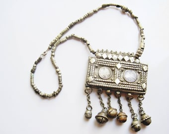 Vintage Bedouin Necklace from Arabian Peninsula, Hirz Tribal Amulet Necklace, Bedouin Jewelry