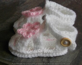 Crochet baby traditional  sandals - Gladiator Sandals - Christening Shoes