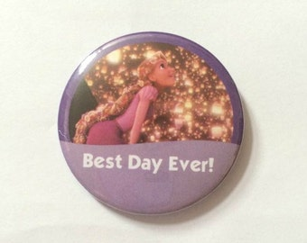 """Rapunzel from Tangled """"Best Day Ever!"""" Disney Inspired Celebration Button/Pin/Badge"""