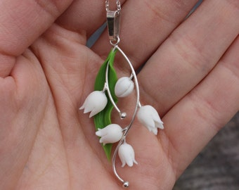 Silver anniversary necklace pendant. Fimo Lily of the Valley. Polymer clay jewelry. Miniature necklace. Succulent plant Jewelry gift