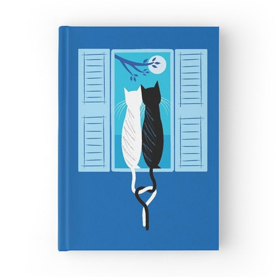 The Lovecats - Dark Blue - Hardcover Office Journal book - Ruled Line - iOTA iLLUSTRATION