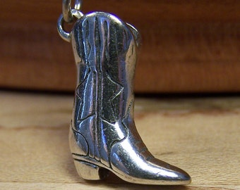 Silver Cowboy Boot Charm Pendant, Sterling Silver Charm Pendant, Joy, Happiness, Western, Fun, Party, Friendship
