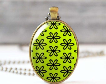 Photo necklace, Lime green necklace, Chartreuse floral pendant with flower charm, Glass dome oval necklace for women, Gift for her, 5004-6
