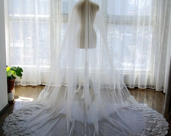 SALE! Star Shine 1T Cathedral Lace Veil With Comb Ivory Wedding Veil Long Veil