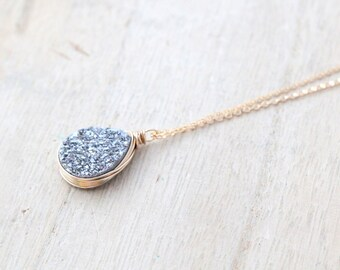 Gray Druzy Bezel Wrapped Necklace in Gold Fill , Silver Platinum Teardrop Druzy Quartz Solitaire Pendant