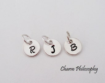 Round 8mm Initial Charm - Add a Personalized Initial Charm - 925 Sterling Silver