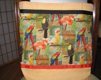 Tropical Bird Messenger Bag, Parrot & Flamingo Colorful Across Body Tote, Laptop Carrier