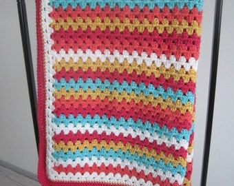 Granny Stripe Blanket with lovely colors (crochet)