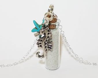 Bottle Vial Necklace: FL Sand with Seahorse and Starfish Charms