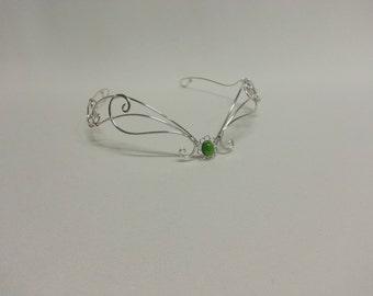 medieval headpiece Green moonstone circlet tiara silver fantasy crown
