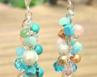 Beach Wedding Cascading Dangle Cluster Earrings, TROPICAL ISLANDS, Hand Knit Fiber Art ,Semi Precious Stones, Crystals