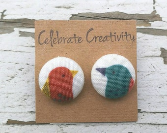 """Bird Fabric Button Post Stud Earrings - red and blue mismatched - 5/8"""""""
