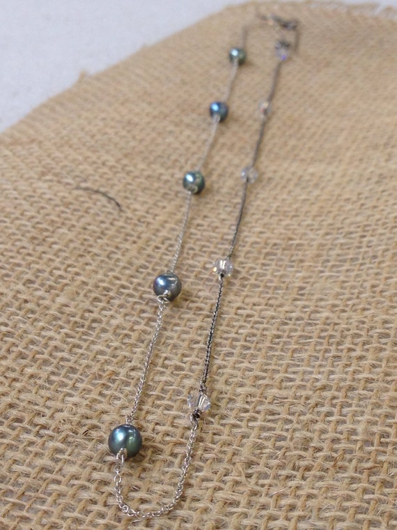 Harmony - freshwater pearl, Swarovski crystal and sterling necklace - ready to ship