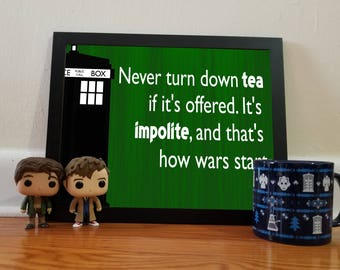 Doctor Who Tea Quote - green - 11x14