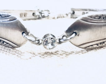 Silver Spoon Bracelet, Vintage Spoons, Silverplated spoon bracelet, Rhinestone Focal, Lobster Claw Clasp, Ready To Ship
