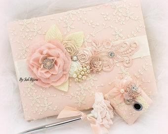 Blush Guest Book and Pen Set Wedding Lace Signature Book Elegant Unique
