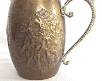 Brass Tankard Repousse Brass Stein, Vintage Brass Tankard Mug, Persian Decor, Decorative Brass Stein