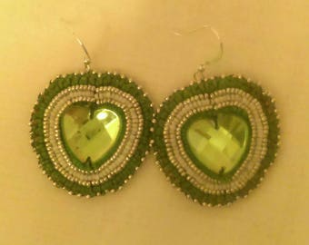 Elegant Emerald Green Beaded Cabouchon Earrings