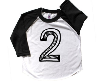 Second Birthday Shirt, Number two Shirt,  Second Birthday baseball raglan, 2 shirt, Birthday Outfit, neon birthday shirt, unisex birthday