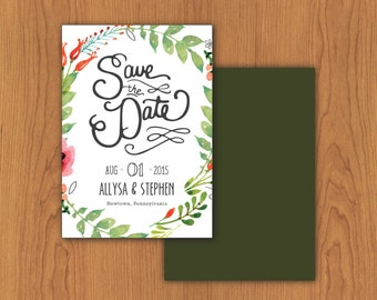 Floral Save the Date // Printable, DIY Wedding, Custom Designs