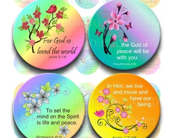 Instant Download - Scripture Bible Verses Collage Sheet - 1 inch circles for bottle cap pendants, hair bows, magnets 333