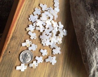 cross shell charms all natural mini/small/tiny fresh water/mother of pearl sea shells religious charms lot of 24