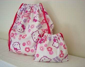 REDUCED! Set of 2 Hello Kitty  printed Cotton Bags, Travel Bag, Laundry Bag,  Overnight Bag, Toy Bag, Underwear Bag, Utility bag,